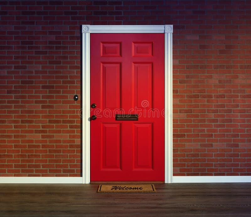 Röd ytterdörr med välkommet mattt arkivbild