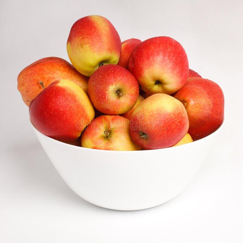 Röda äpplen i en vit bunke royaltyfri bild