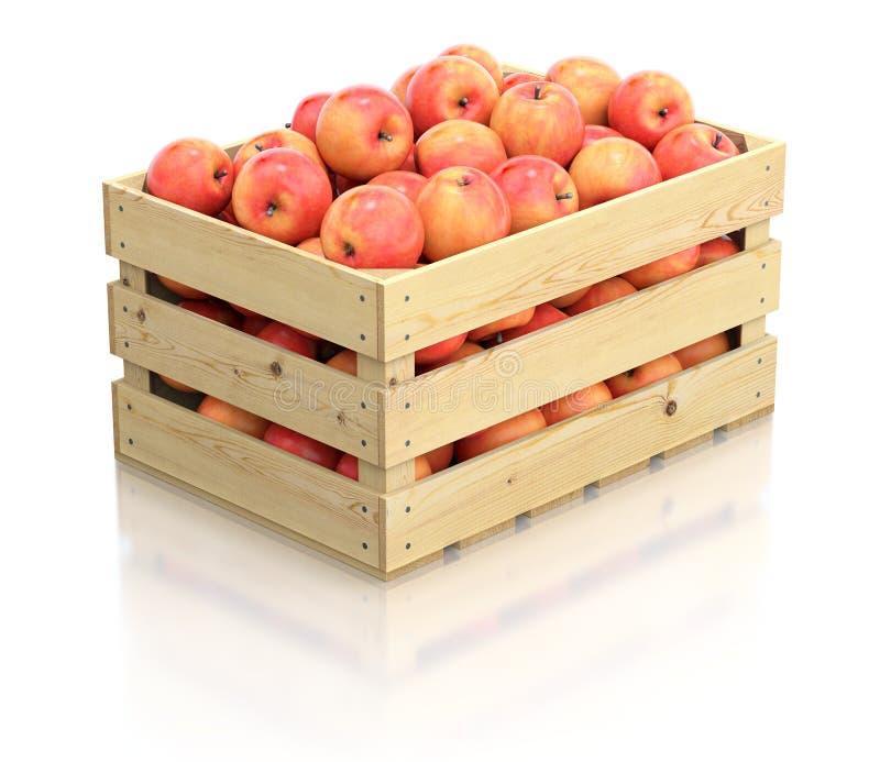 Röda äpplen i träspjällådan vektor illustrationer