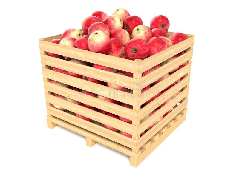 Röda äpplen i träspjällådan royaltyfri illustrationer