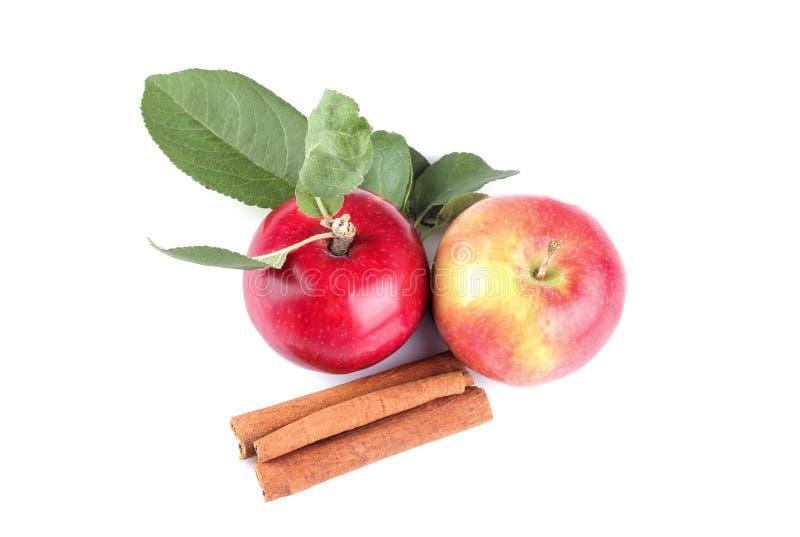 röda äpplen med sidor och kanelbruna pinnar på vit isolerade bakgrund royaltyfri foto
