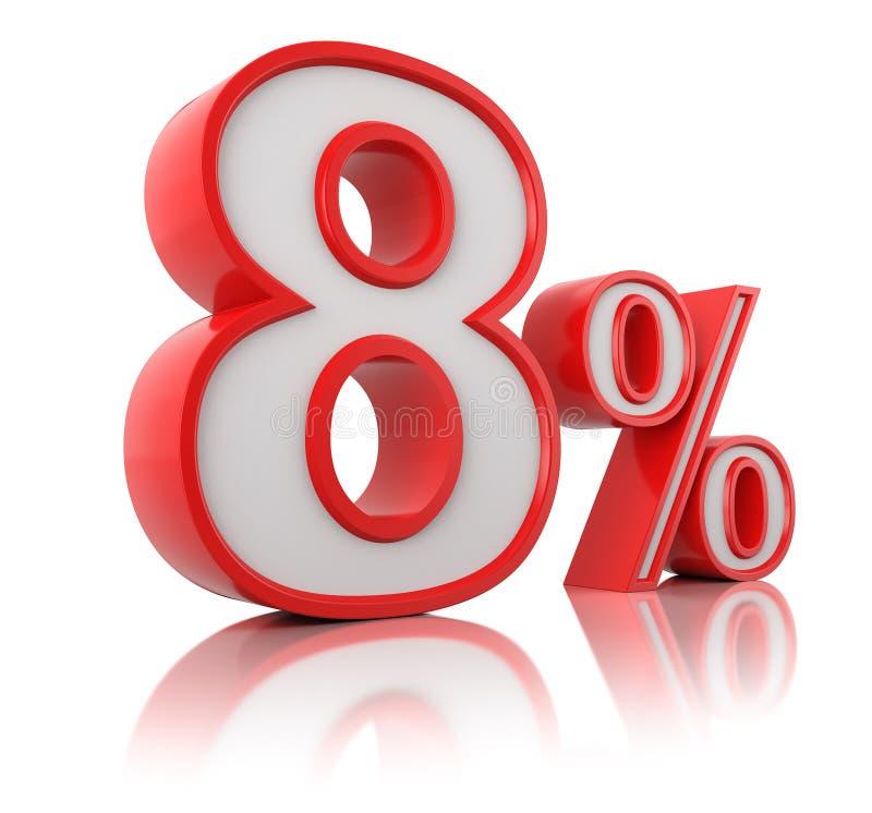 Röda åtta procent på vit reflekterande bakgrund framf?rande 3d annonsering av illustrationf?rs?ljning vektor illustrationer