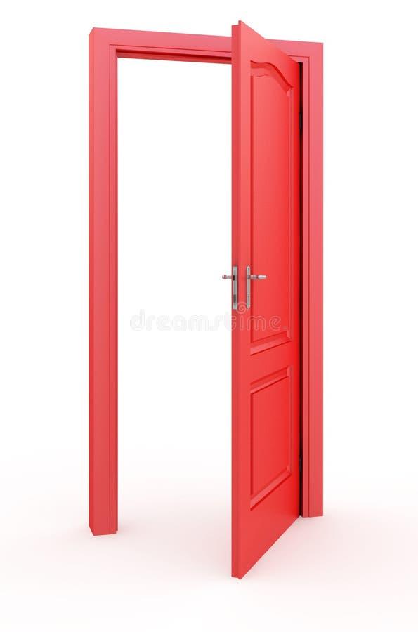 Röda öppna dörrar royaltyfri illustrationer