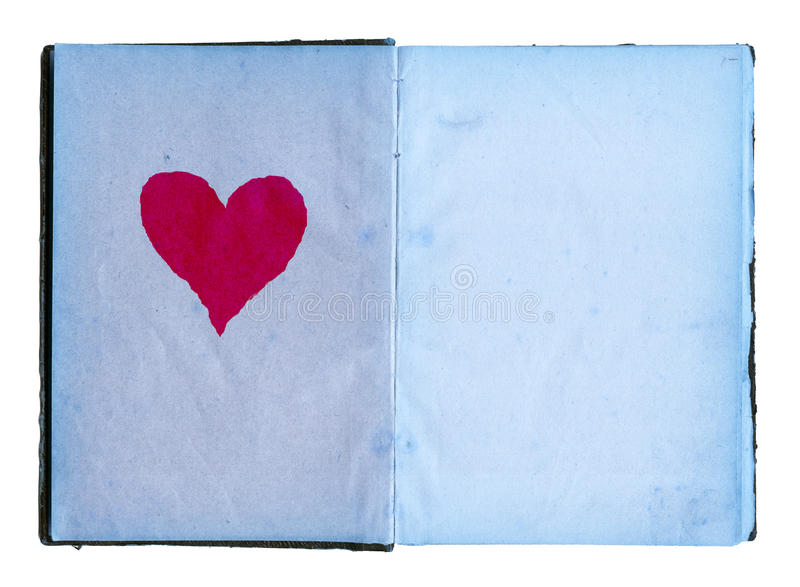 röda öppna sidor för stor blå dagbokflickahjärta fotografering för bildbyråer