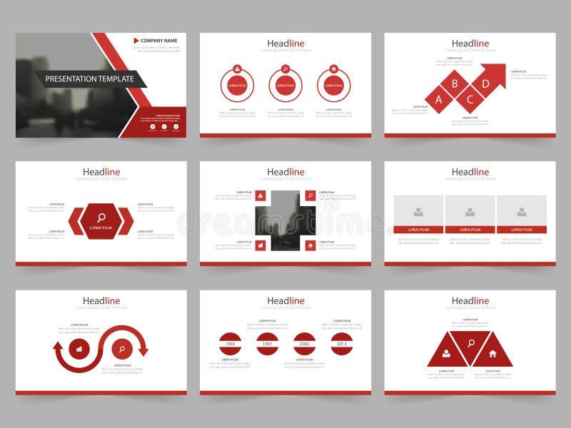 Röda abstrakta presentationsmallar, uppsättning för design för lägenhet för Infographic beståndsdelmall för broschyr för årsrappo stock illustrationer