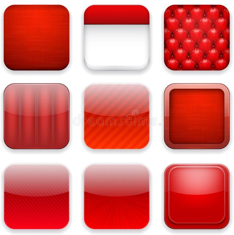 Röda app-symboler. stock illustrationer