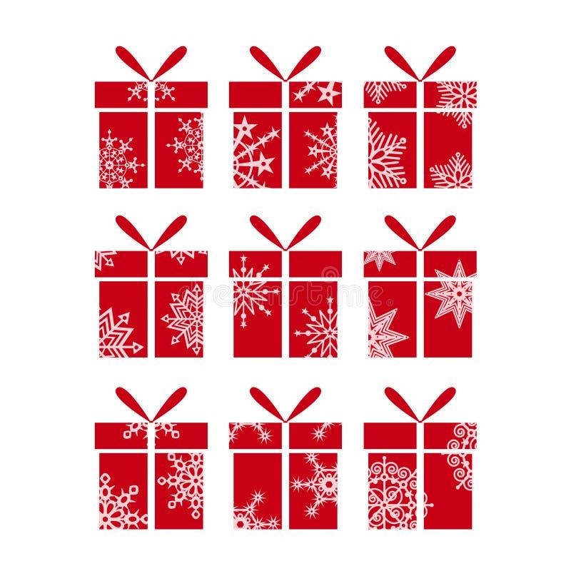 Röda askar för vektor för julgåva nytt set?r royaltyfri illustrationer