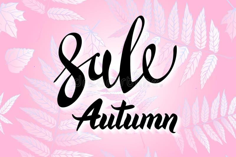 Röda Autumn Sale Background, utdragen höstkalligrafi för hand med det fallande sidor, rengöringsdukbanret och att shoppa försäljn royaltyfri illustrationer
