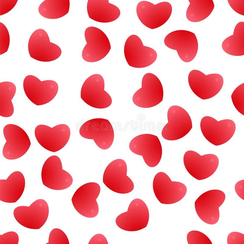 röda bakgrundshjärtor seamless modell För hälsningkort bröllop, födelsedag, lyckönskan, parti royaltyfri illustrationer