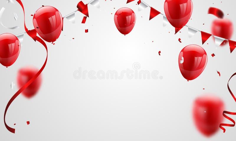 Röda ballonger, konfettibegreppsdesign 17 August Happy Independence Day royaltyfri illustrationer