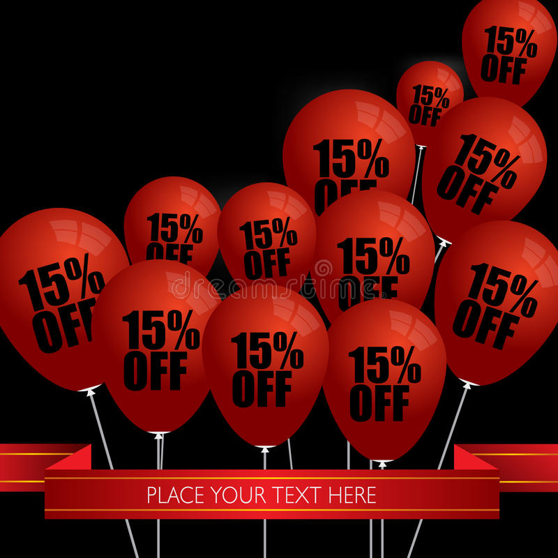 Röda ballonger med Sale avfärdar 15 procent royaltyfri illustrationer