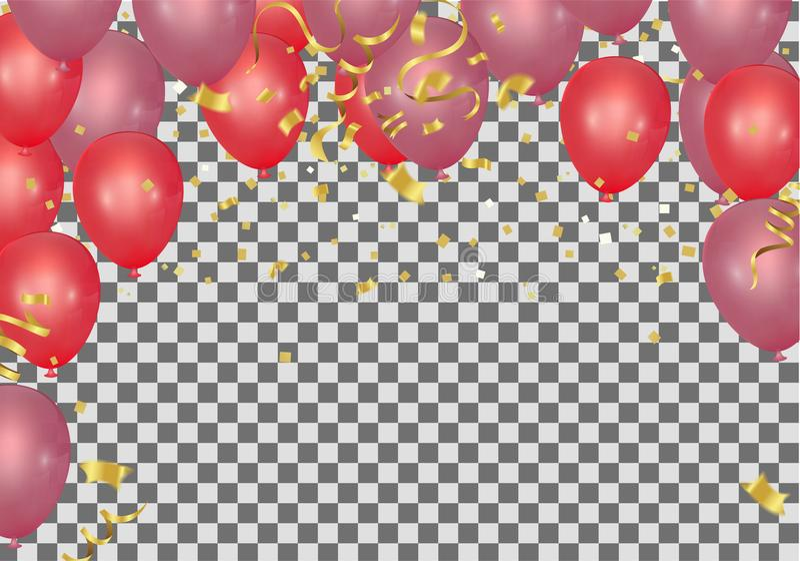 Röda ballonger och konfettier festar bakgrund, begreppsdesign cele stock illustrationer