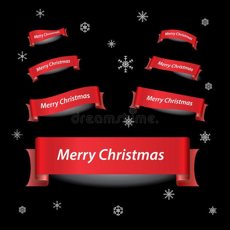 Röda bandbaner för glad jul royaltyfri illustrationer