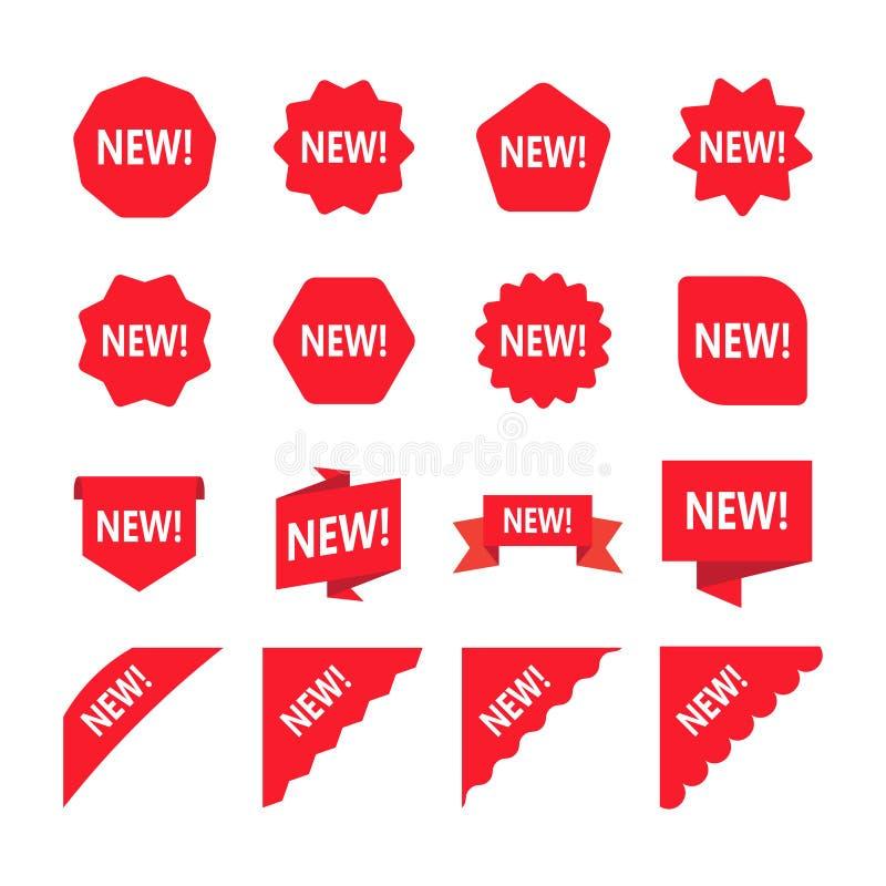 Röda befordranetiketter med det nya ordet Uppsättning av den nya klistermärken royaltyfri illustrationer