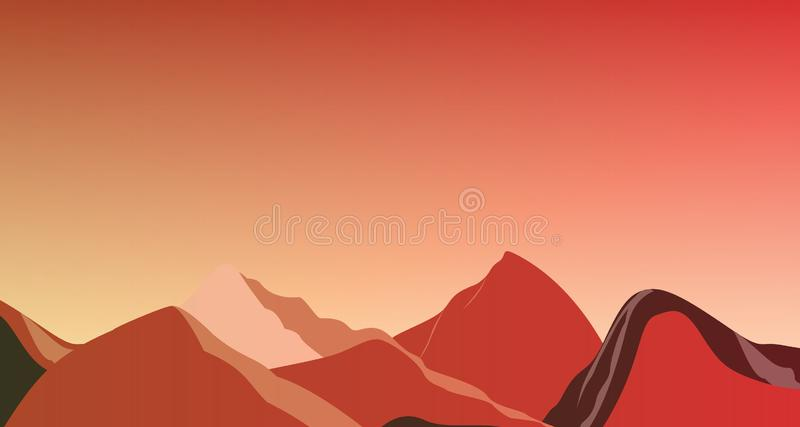 Röda berg för landskap på Mars illustrationen royaltyfria foton