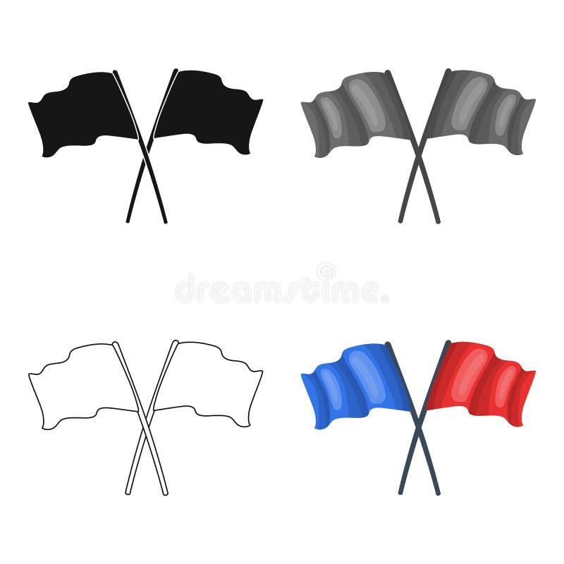 röda blåa flaggor Enkel symbol för Paintball i rengöringsduk för illustration för materiel för symbol för tecknad filmstilvektor vektor illustrationer