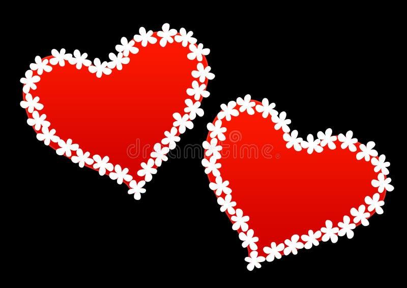 röda blom- hjärtor royaltyfri foto