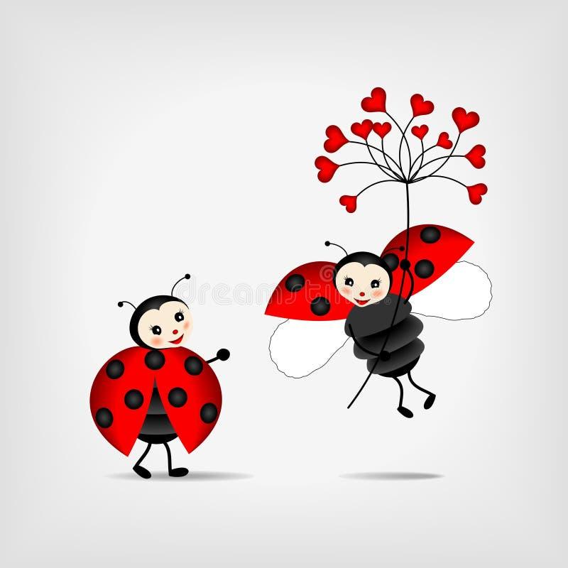 röda blommanyckelpigor royaltyfri illustrationer