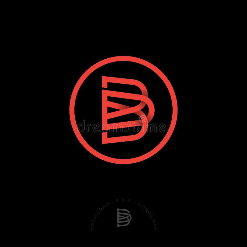 Röda bokstäver för B och för D Korsat B, D märker i en cirkel royaltyfri illustrationer