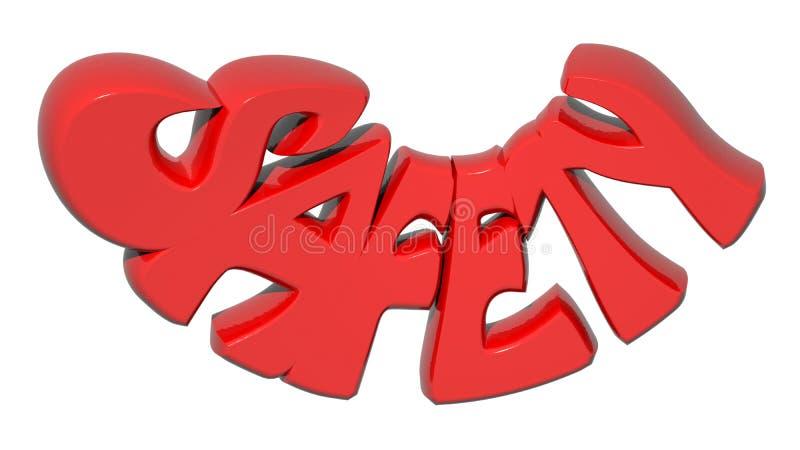 Röda bokstäver för SÄKERHET 3D - tolkning 3D stock illustrationer