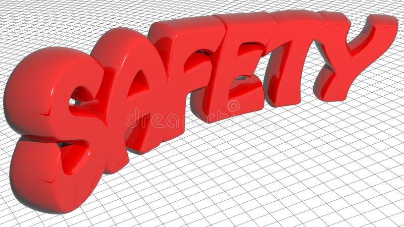 Röda bokstäver för SÄKERHET 3D - tolkning 3D royaltyfri illustrationer
