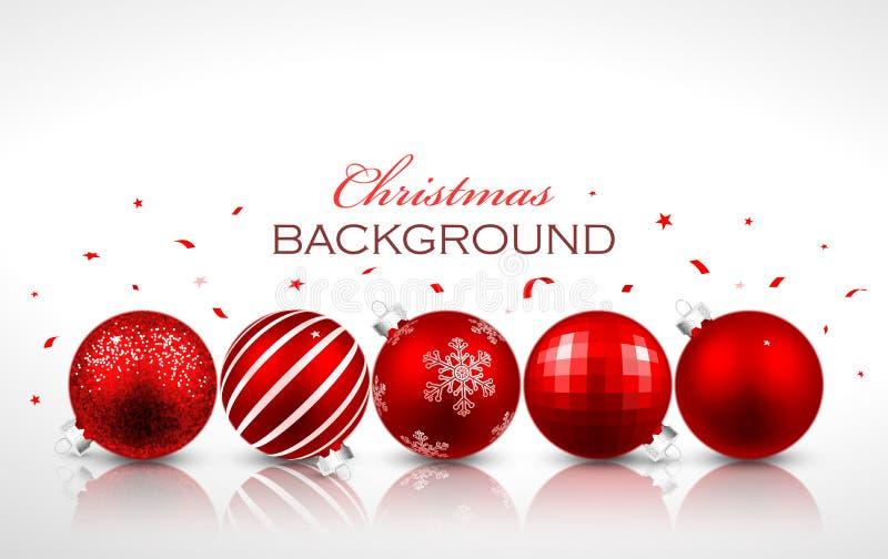 Röda bollar för jul med reflexion royaltyfri illustrationer
