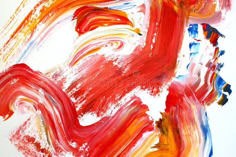 Röda borsteslaglängder för brand på kanfas abstrakt konstbakgrund F?rgtextur Fragment av konstverk abstrakt kanfasm?lning stock illustrationer