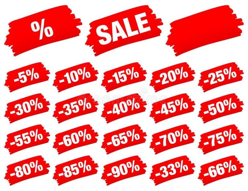 Röda borsteslaglängder Sale negativ stock illustrationer
