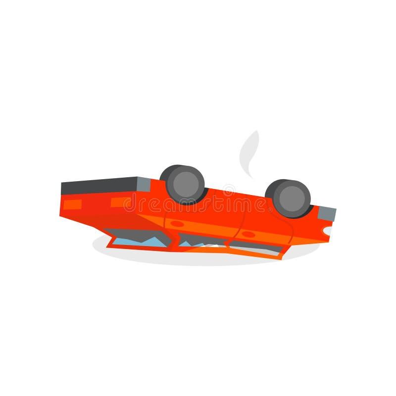 Röda brutna billögner vänder om på dess taket olycka bruten bilchaufförfokus nära reflekterande varning för vest för vägsäkerhets royaltyfri illustrationer