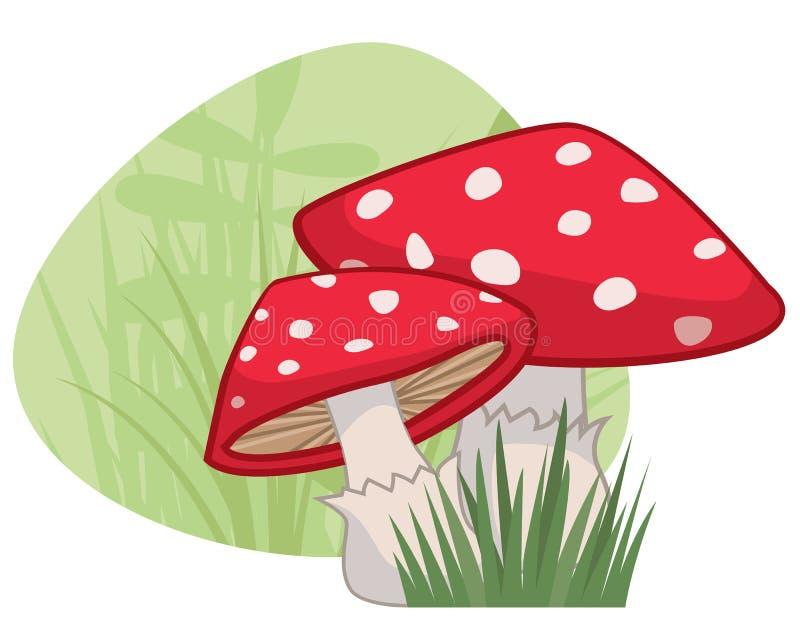 Röda champinjoner med vita fläckar med gräslappen och grön naturlig bakgrund royaltyfri illustrationer