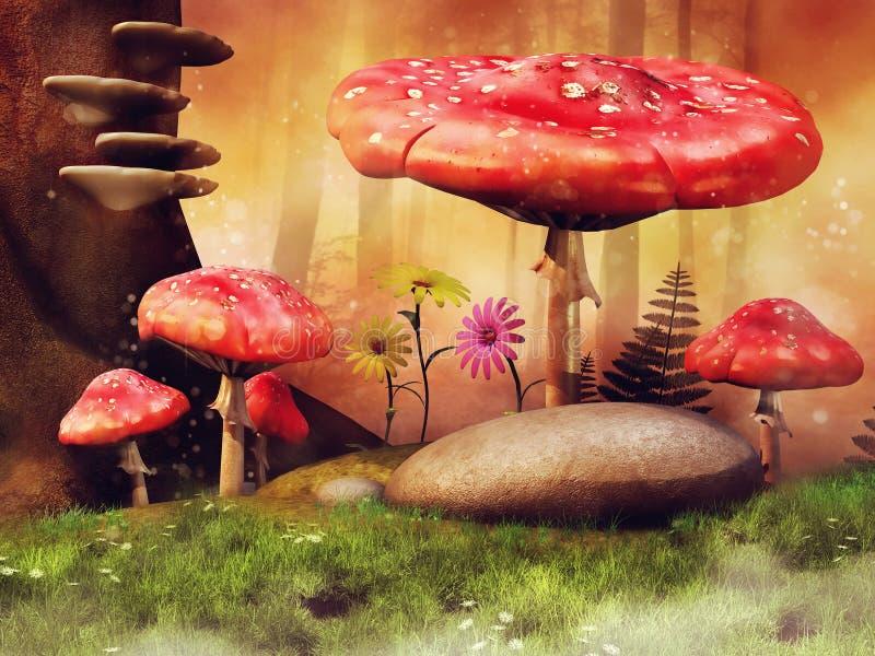 Röda champinjoner på en blomningäng stock illustrationer