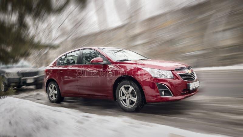 Röda Chevrolet arkivbilder