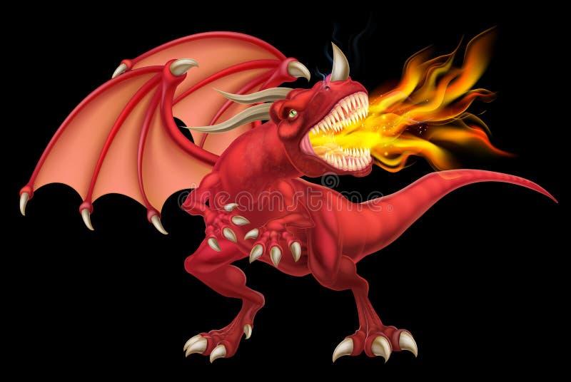 Röda Dragon Breathing Fire vektor illustrationer