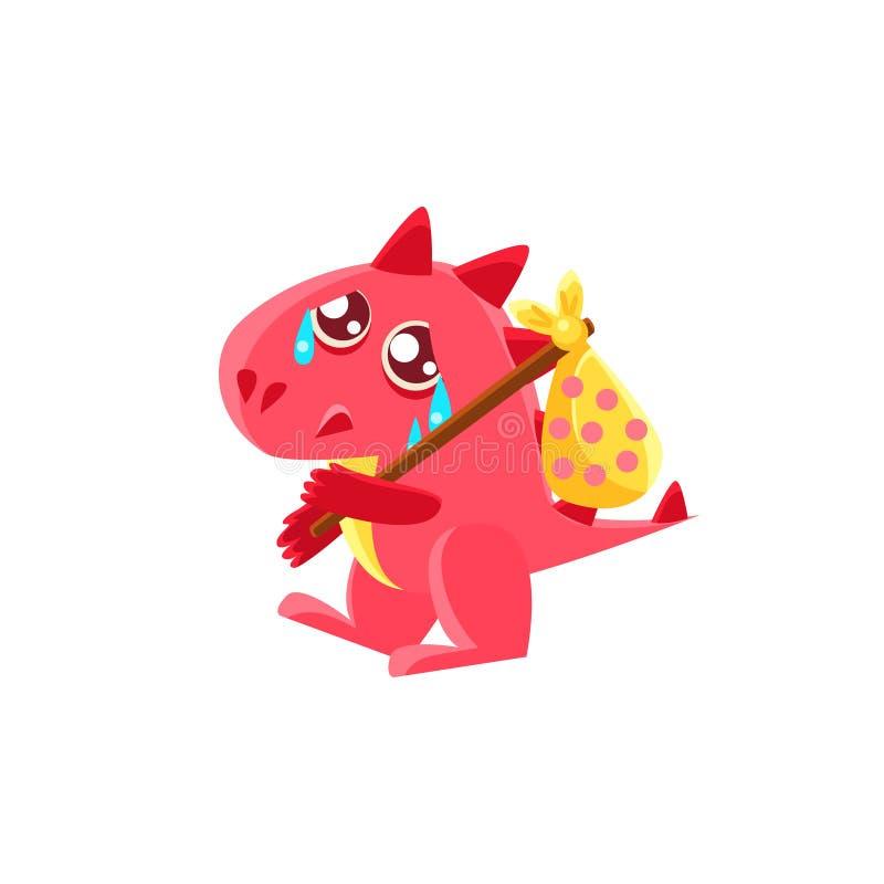 Röda Dragon Leaving med säcken på pinneillustration vektor illustrationer