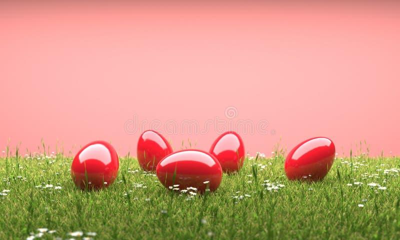 Röda easter ägg i illustration för gräsmatta 3D royaltyfri illustrationer