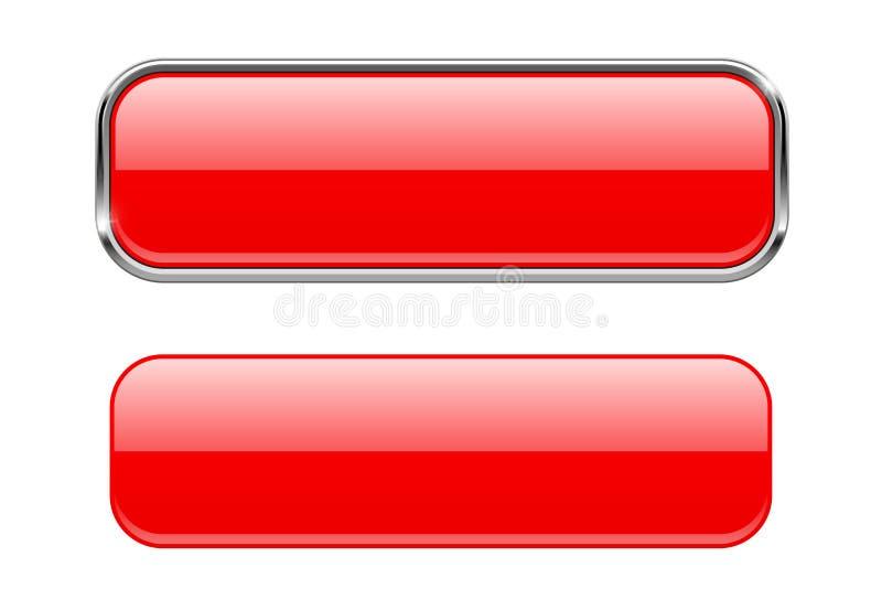 Röda exponeringsglasknappar med och utan metallramen royaltyfri illustrationer