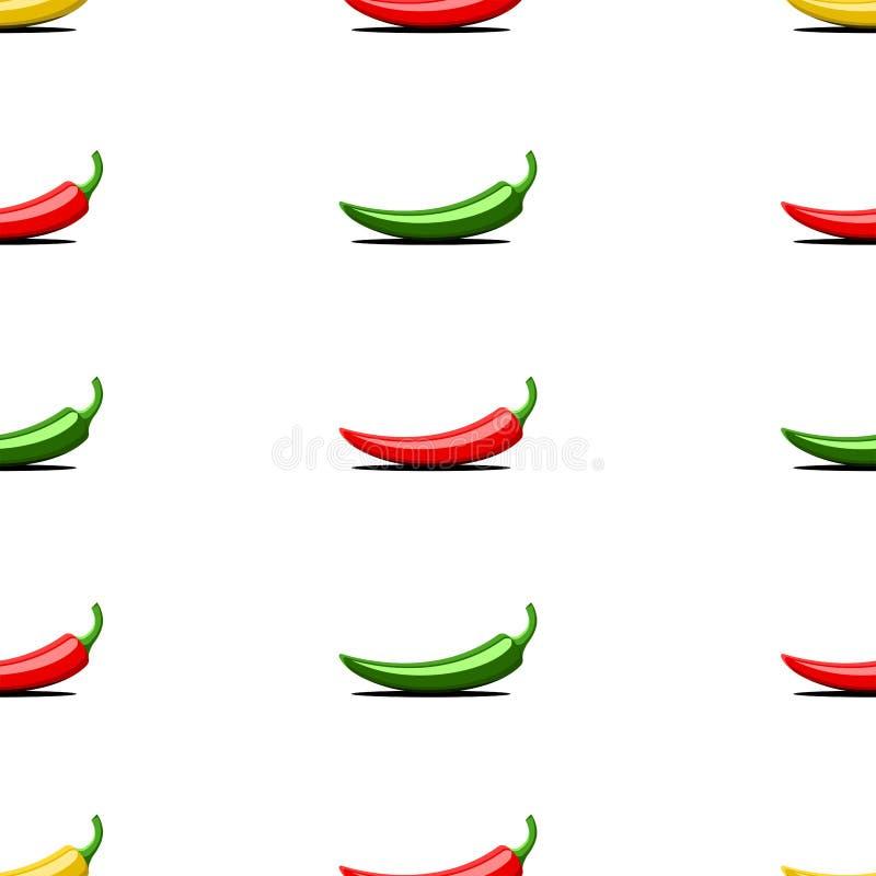 Röda färgrika grönsaker, grön gul bitter sömlös modell för chilipeppar på en vit bakgrund, idérik idé för ett tryck på royaltyfri illustrationer