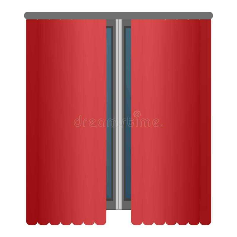 Röda fönstergardiner symbol, tecknad filmstil royaltyfri illustrationer