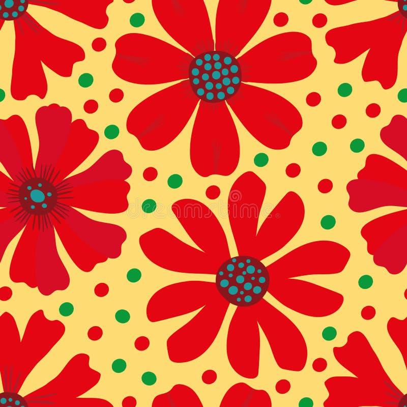 Röda för hand utdragna, gröna och blåa blommande blommor på gul grön prickbakgrund seamless vektor för modell Utmärkt för royaltyfri illustrationer
