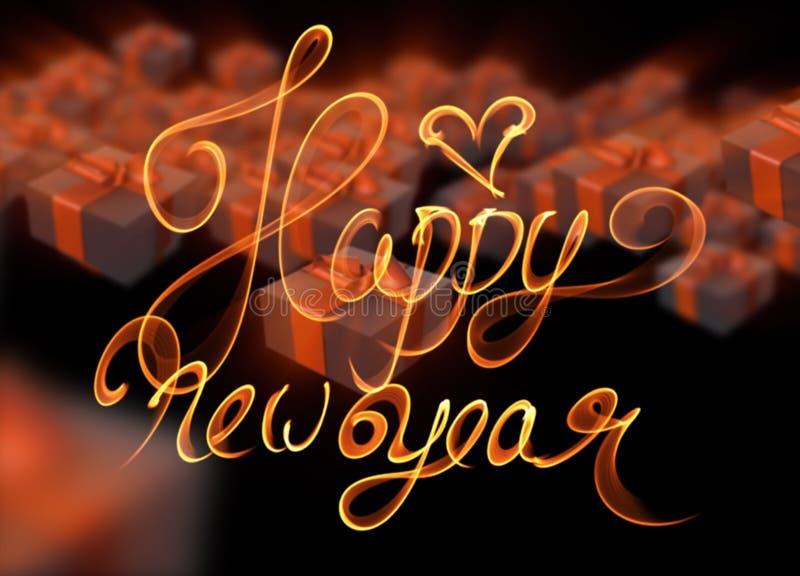Röda för nytt år för jul färgrika och gröna gåvaaskar med pilbågar av band som flyger på svart bakgrund illustrationen 3d och ord stock illustrationer