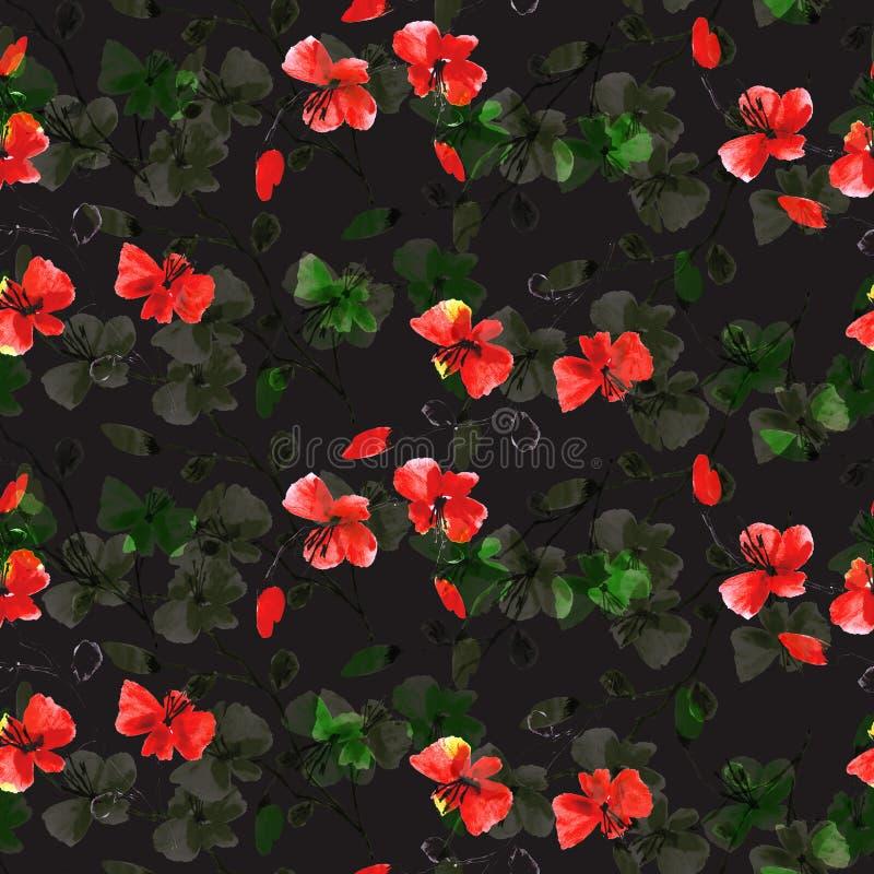 Röda för sömlös modell små lösa och gröna blommor på den svarta bakgrunden vektor f?r detaljerad teckning f?r bakgrund blom- vatt vektor illustrationer