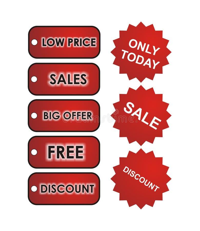röda försäljningsetiketter arkivbild