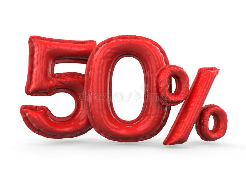 Röda femtio procent gjorde av uppblåsbara ballonger Procentuppsättning 3d stock illustrationer