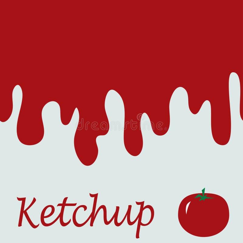 Röda fläckar av ketchup Sömlöst baner för vektor Inpackning av packaen stock illustrationer