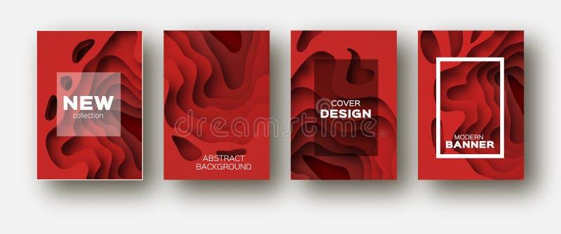 Röda former för papperssnittvåg Den i lager kurvorigamin planlägger för affärspresentationer, reklamblad, affischer Uppsättning a stock illustrationer