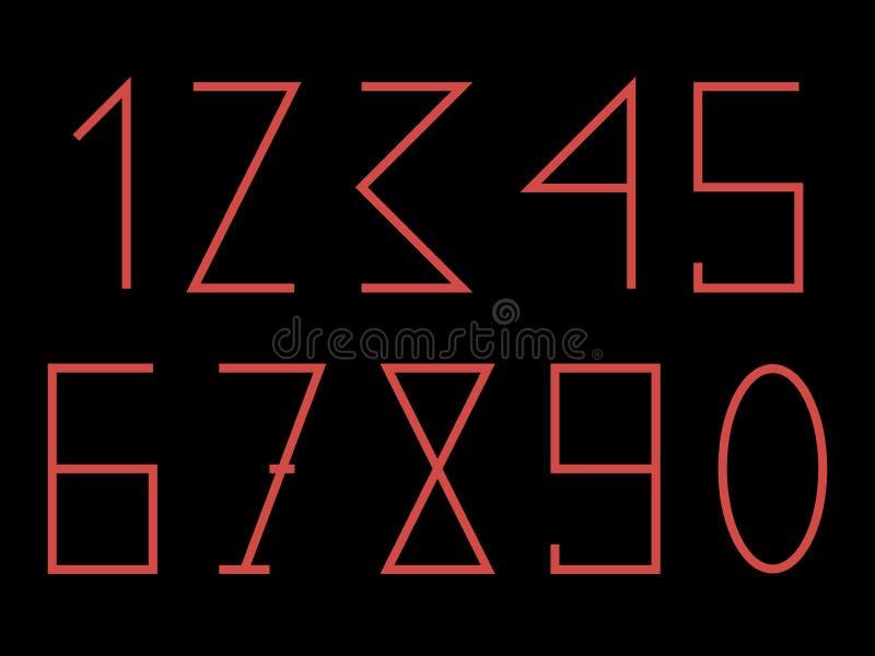 R?da former och nummer p? den svarta bakgrunden arkivfoton