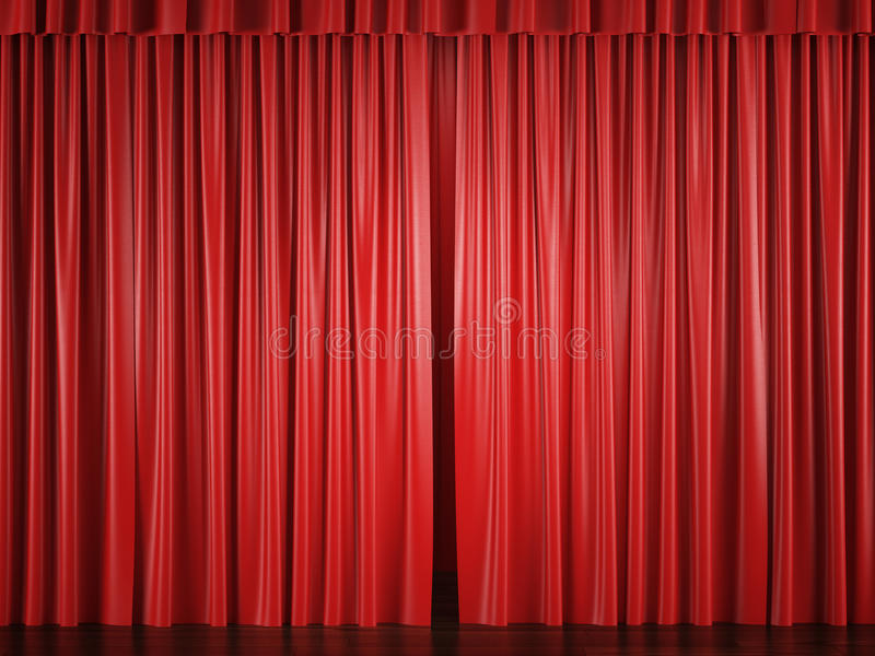 Röda gardiner med en ljuspunkt vektor illustrationer