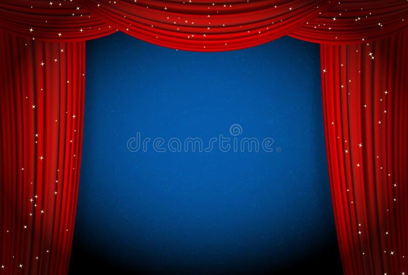 Röda gardiner på blå bakgrund med att blänka stjärnor royaltyfri illustrationer