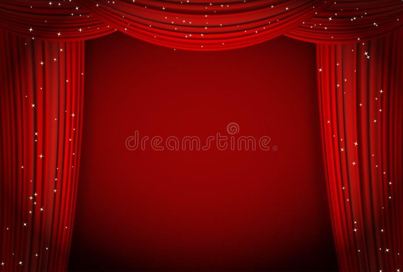 Röda gardiner på röd bakgrund med att blänka stjärnor royaltyfri illustrationer