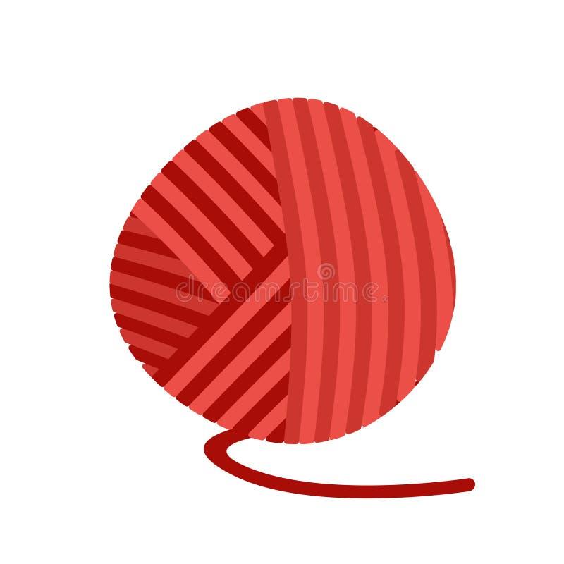Röda garnnystantrådar packe av ull för isolerat att sticka stock illustrationer